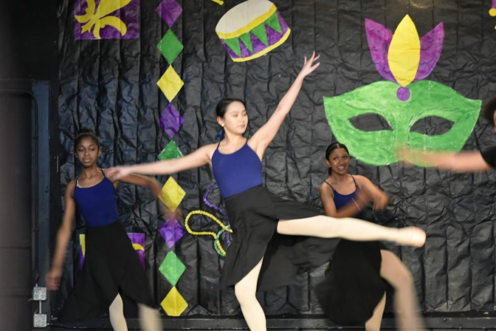 Three BalletRox youth dance at the January 2020 recital.